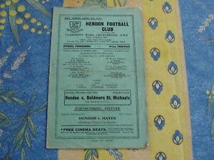 Hendon v Boldmere St.Michaels Amateur Cup 1st Rd 1952/3