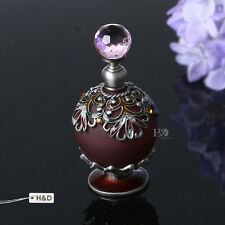 Vintage Inlaid Topaz Glass Crystal Metal Perfume Bottle Empty Lady Gifts 25ml