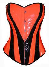 Neon Orange Heart overbust corset Steel Rave Party Fancy Costume Halloween USA