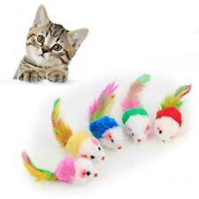 1Pcs Cat Toy Mouse Feather Tail Rattle Furry Plush Chas N9P7 Pet Fur Kitten J9M0