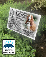 Grave marker, Tree stake plaque, Pet cemetery or garden use, Dog fur baby loss