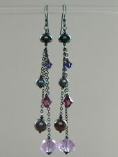 Alex Polizzi Style Earrings ~ Black FW Pearls, Purple Crystal & Oxidised Silver