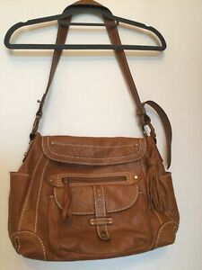 Crew Clothing Sholder Bag Tan Leather Blue Spotty Lined