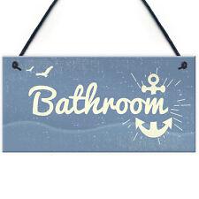 Bathroom Plaque Seaside Nautical Accessories Shabby Chic Toilet Door Sign Gifts