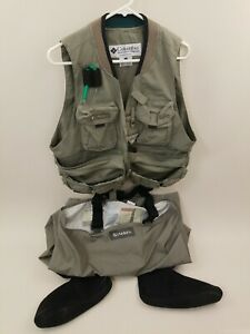 Columbia / Simms Fishing Vest Waders Men's Medium Grey Color USA Made Size M Med