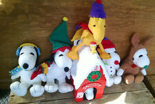 Lot of 6 Christmas Holiday Snoopy Woodstock Whitman's Plush & Candy Dispenser