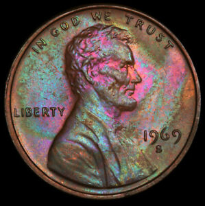 MS64BN 1969-S Memorial Proof Cent, PCGS Secure- Vivid Psychedelic Rainbow Toned