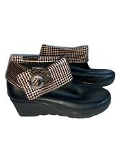Sperry Top-Sider Black/Brown Plaid Rubber Waterproof Wedge Ankle Boots Women's 9