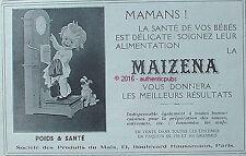 PUBLICITE MAIZENA BEBE SUR BALANCE CHIEN HORLOGE DE 1925 FRENCH AD PUB ART DECO