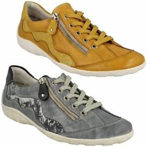 R3416 REMONTE LADIES LEATHER CASUAL TRAINER STYLE SHOES ZIP LACES SNEAKERS SIZE