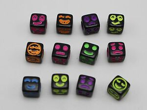 250 Black with Neon Color Smile Cube Pony Beads 6X6mm