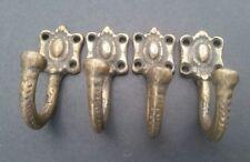 "Set 4 strong solid brass Ornate backplate Single Coat Hat Towel Hooks 2 1/2"" #C4"