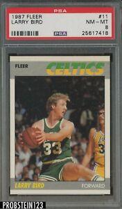 1987 Fleer Basketball #11 Larry Bird Boston Celtics HOF PSA 8 NM-MT