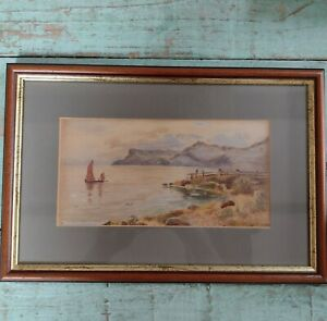 Antique framed watercolour painting Coastal  Sailing Boat Scene  Victorian...