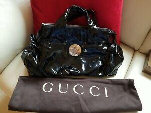 Authentic Gucci HYSTERIA CREST Black Patent Leather Top Handle satchel bag PURSE