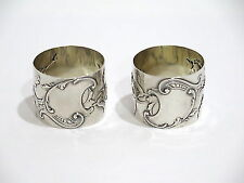 Set of 2 - 2 in - European Silver Antique Floral Scroll Napkin Rings