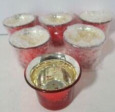 Hosley Mercury Votive Candle Holders, Speckled Glass Tealight Holder, Set of 6