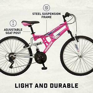 Mongoose Exlipse Full Dual-Suspension Mountain Bike for Kids Featuring 15-Inch