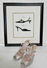 """Glint Silver Rhinestone Fabric 5.5 M Strappy Sandals Open Toe 3"""" Stiletto Heels"""