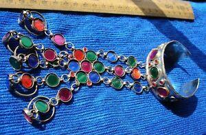 Indian Kuchi tarnished red, green pink + blue glass five finger  open bracelet