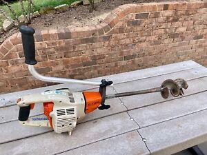 """Stihl BT45 Gas Powered 2 Speed Drill Auger w/ 4"""" Bit and Reverse - Runs Good!"""
