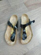 Birkenstock Size 9 40 Black Patent Gizeh Slide Thong Style Sandals EUC