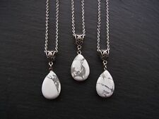 Water Drop Stone Necklace Howlite Pendant Necklace Chakra Reiki Healing Boho