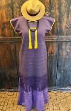 Purple & Yellow Huipil Dress Hand Woven Mitla Oaxaca Mexico, Hippie Cowgirl Boho