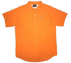 Grundens Hooksetter SS Snap Button Up Fishing Shirt Men's Large Burnt Orange
