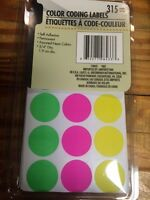 COLOR CODING LABELS SELF ADHESIVE FLEA MARKET 315 CT NEW IN PACK