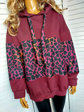 Italy langer oversized Hoodie Pullover animal print 38 40 42 (44) bordeaux