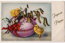 Carte postale ancienne | Joyeuses Pâques | Dessin | Poussins | Oeuf violet