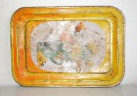 Vintage Old Rare Collectible Orange Flower Print Serving Tin Tray