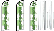 Recycling Windless Flag With Hybrid Pole set 3 pack