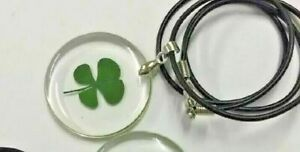 """1 Real Four Leaf Clover Good Luck Charm in Clear Resin 18"""" Rope Necklace D387"""
