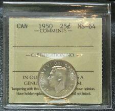 1950 CANADA - 25 CENTS - .800 SILVER - George VI - ICCS CHBU