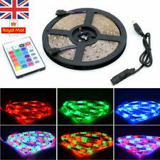 1M 2M 5M 5V 5050 RGB LED Strip Light Color Changing USB TV PC Back Mood Lighting