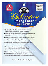 """DMC Embroidery Tracing Paper - 4 Sheets (8-1/2"""" x 11"""" Each) 2 yellow and 2 Blue"""