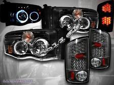 02 - 05 DODGE RAM 1500 03 - 05 2500/3500 DUAL HALO RIM HL w/ LED + LED TL BLACK