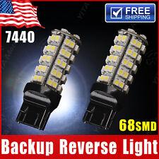 2x Pure White 7440 T20 7441 68smd Backup Reverse Tail Brake Stop LED Light Bulbs