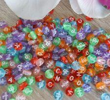 (9) 250 Perlen Kunststoff 7 mm Buchstaben Bunt ABC Armband Basteln Name Kette