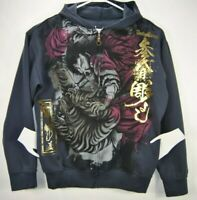 Vantage Eternal Womens XL Hooded Graphic Jacket Gray Long Sleeve Full Zip EUC