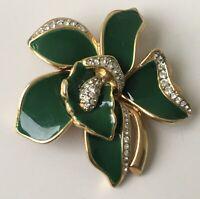 Vintage green orchid flower  Brooch Pin