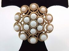 Crown Trifari Round Brooch Gold Tone Rope Bezel Set White Beads Vtg Pin