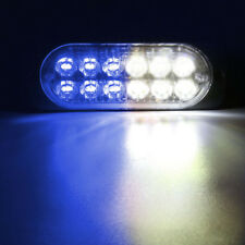 BLUE WHITE 12 LED Strobe Light Bar Truck Hazard Beacon Flash Warn Emergency Lamp