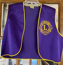 Vintage Lions' Club International vest & hat,purple/gold,Rockton, Illinois, sz L