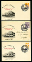 Denmark Stamps Lot of 3 Matched 1948 Cachet Cards Ship Postmarks All VF