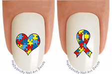 Nail Art #6508 Autism Ribbon BOLD Puzzle Heart Waterslide Nail Decal Transfers