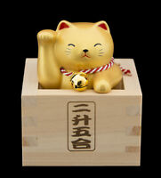 Fuku Masu Gato Japonés 8.8cm Cerámica Fabricado en Japón Maneki Neko Oro 40654