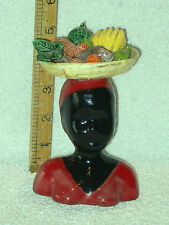 GOOD QUALITY SIGNED BUST OF WOMEN WITH FRUIT BASKET ON HER HEAD PERFECT CONDITIO